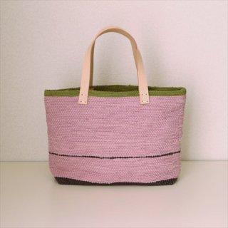 韓色裂き織バッグ Mよこなが ピンク