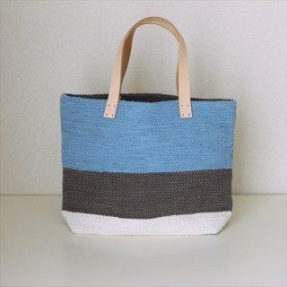 韓色裂き織バッグ M よこなが 青
