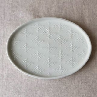 雪花楕円皿 白磁