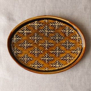 雪花楕円皿 アメ釉