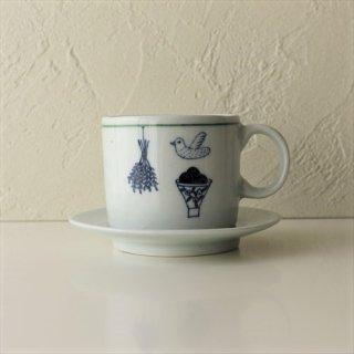 鳥と果物のカップ&ソーサー