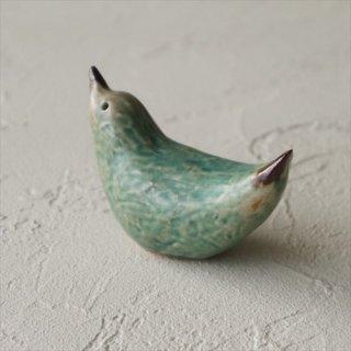 青緑 小鳥のオブジェ