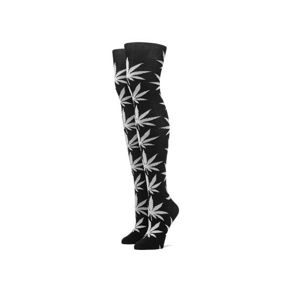 <img class='new_mark_img1' src='https://img.shop-pro.jp/img/new/icons20.gif' style='border:none;display:inline;margin:0px;padding:0px;width:auto;' />HUF PLANTLIFE THIGH HIGH SOCKS [ BLACK × WHITE ] / ハフ マリファナ柄 ニーハイ ソックス