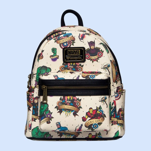LOUNGEFLY × MARVEL TATTOO FLASH PRINT MINI FAUX LEATHER BACKPACK / ラウンジフライ マーベル バックパック