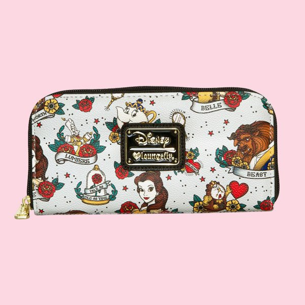 LOUNGEFLY × DISNEY BEAUTY & THE BEAST TATTOO FLASH PRINT WALLET / ラウンジフライ ディズニー ウォレット
