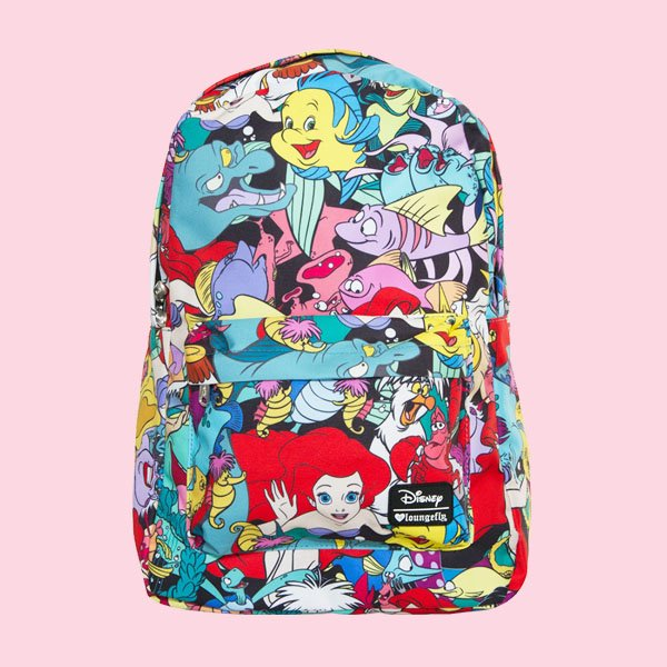 LOUNGEFLY × DISNEY THE LITTLE MERMAID CHARACTER PRINT BACKPACK / ラウンジフライ  ディズニー バックパック