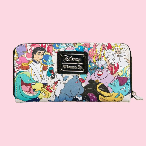 LOUNGEFLY × DISNEY THE LITTLE MERMAID CHARACTER PRINT 2-SIDED WALLET / ラウンジフライ ディズニー ウォレット