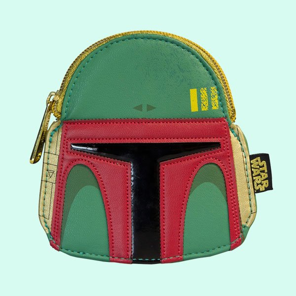 <img class='new_mark_img1' src='https://img.shop-pro.jp/img/new/icons20.gif' style='border:none;display:inline;margin:0px;padding:0px;width:auto;' />LOUNGEFLY × STAR WARS BOBA FETT GREEN/RED FAUX LEATHER FACE COIN BAG / ラウンジフライ スターウォーズ コインケース