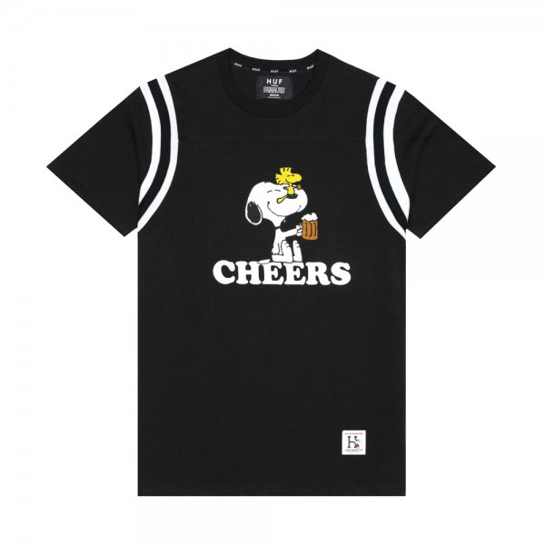 HUF × PEANUTS CHEERS FOOTBALL JERSEY [ BLACK ] / ハフ ピーナッツ Tシャツ