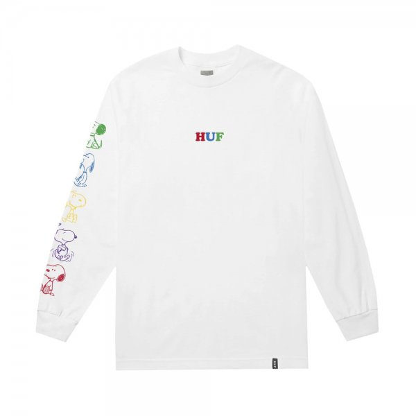 HUF × PEANUTS SNOOPY YEARS LONG SLEEVE TEE [ WHITE ] / ハフ ピーナッツ Tシャツ