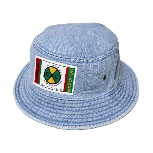 CROSS COLOURS LABEL LOGO DENIM BUCKET HAT [ LIGHT DENIM ] / クロスカラーズ バケットハット