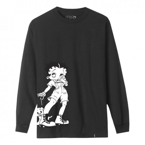 HUF × BETTY BOOP DOWNTOWN BETTY BOOP LONG SLEEVE TEE [ BLACK ] / ハフ ベティ・ブープ Tシャツ