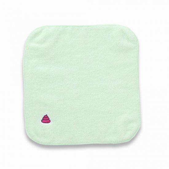 プレゼントに多いみたい うんこ タオルハンカチ ライトグリーン×ピンク