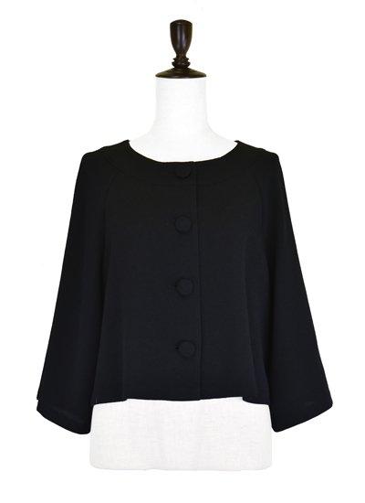 【無地/ブラックフォーマル】ショート丈ノーカラージャケット