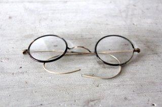 巻きつるテンプル鼈甲フレーム丸メガネ