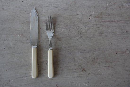 クロムプレートのカトラリー ナイフ&フォークセットA