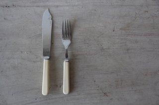 クロムプレートのカトラリー ナイフ&フォークセットC