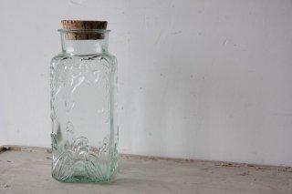 肉厚ガラスの角型コルクボトル ブルー