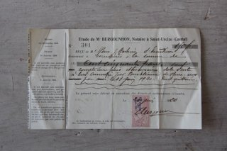 フランスの古文書B (1920年 領収書)