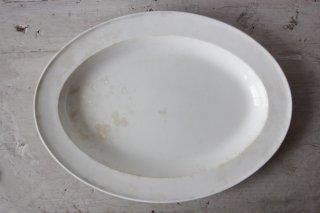 CREIL ET MONTEREAU 白釉のオーバルプレートA