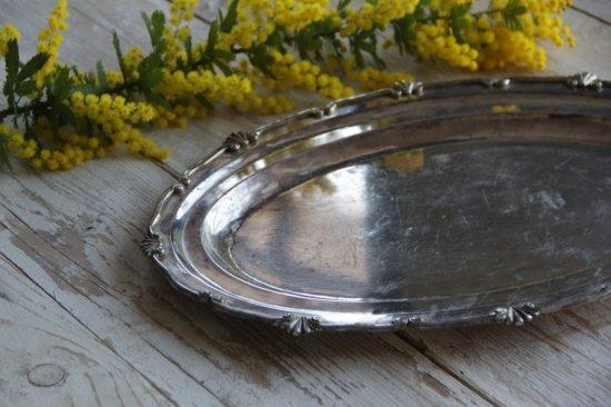 シルバープレートのリム装飾オーバル皿
