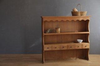 抽斗付き木製2段ラック/飾り棚