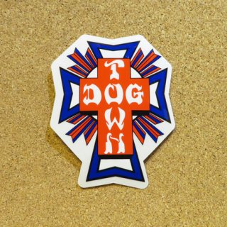 DOG TOWN  ステッカー CROSS LOGO RED & BLUE 4.5インチ