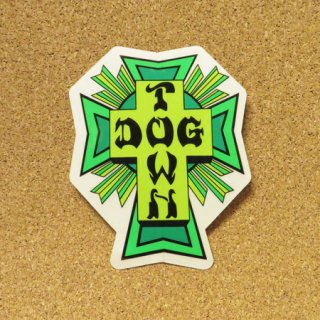 DOG TOWN  ステッカー CROSS LOGO LIME & GREEN 4.5インチ