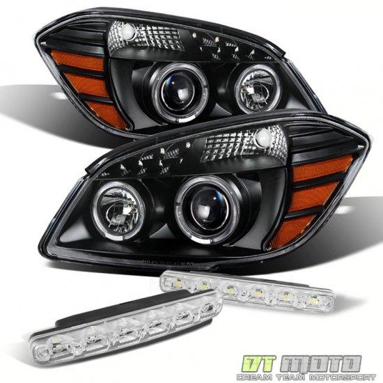 USヘッドライト ブラック05-10コバルト07-10ポンティアックG5ハロープロジェクターヘッドライト+ Smdバンパーフォグ Black For 05-10 Cobalt 07-10 Ponti