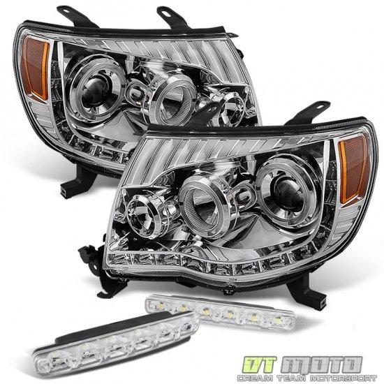 USヘッドライト 05-11トヨタタコマ用ヘッドライトヘッドライト+ SMDバンパーフォグ For 05-11 Toyota Tacoma Led Halo Projector Headlights