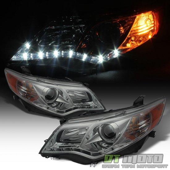 USヘッドライト スモーク2012-2014トヨタカムリLED DRLプロジェクターヘッドライトアフターマーケット12 13 14 Smoked 2012-2014 Toyota Camry LED