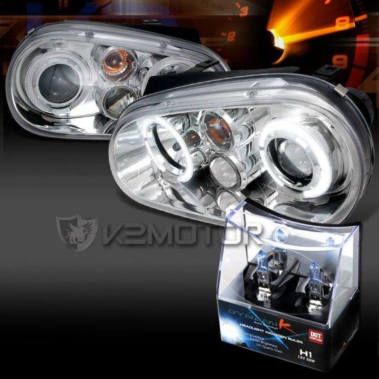 USヘッドライト フィット99-05 VWゴルフGTI R32 MK4クロームハロープロジェクターヘッドライト+ H1ハロゲンバルブ Fit 99-05 VW Golf GTI R32 MK4 …