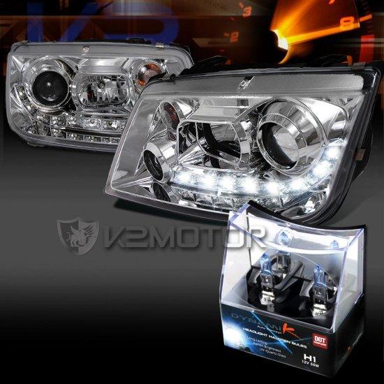 USヘッドライト 1999-2004 VW Jetta Chrome R8 LEDプロジェクターヘッドライト+ H1ハロゲン電球 For 1999-2004 VW Jetta Chrome R8…