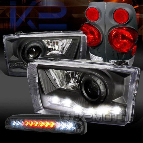 USヘッドライト 99-04 F250 SuperDutyブラックSMD DRLプロジェクターヘッドライト+テールLED第3ブレーキランプ 99-04 F250 SuperDuty Black …