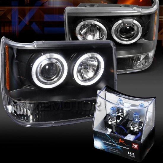 USヘッドライト 93-96ジープグランドチェロキーブラックハロープロジェクターヘッドライト+ H3ハロゲン電球 93-96 Jeep Grand Cherokee Black Halo Pro…