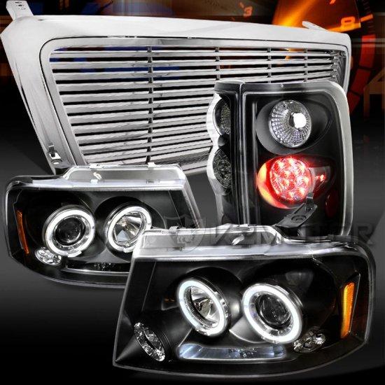 USヘッドライト 04-08 F150ブラックデュアルハロープロジェクターヘッドランプ+ LEDテールランプ+クロムビレットグリル 04-08 F150 Black Dual Halo Proj…