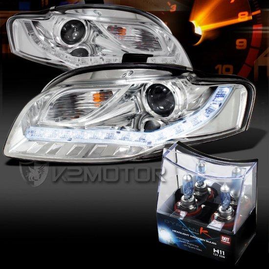 USヘッドライト 06-08アウディA4クリアR8 LED DRLプロジェクターヘッドライト+ H11ハロゲン電球 For 06-08 Audi A4 Clear R8 LED DRL Proj…