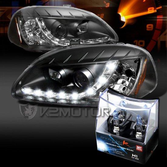 USヘッドライト フィット96-98シビックブラックR8 LED DRLプロジェクターヘッドライト+ H1ハロゲン電球 Fit 96-98 Civic Black R8 LED DRL Proj…