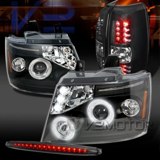 USヘッドライト 07-12アバランシェ黒プロジェクターヘッドライト+ LEDテールランプ+スモークLED第3ブレーキ 07-12 Avalanche Black Projector Headl…