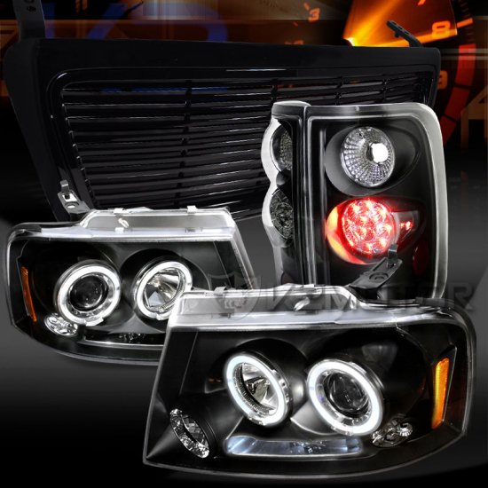 USヘッドライト 04-08 F150ブラックデュアルハロープロジェクターヘッドライト+ LEDテールランプ+フードグリル 04-08 F150 Black Dual Halo Projecto…