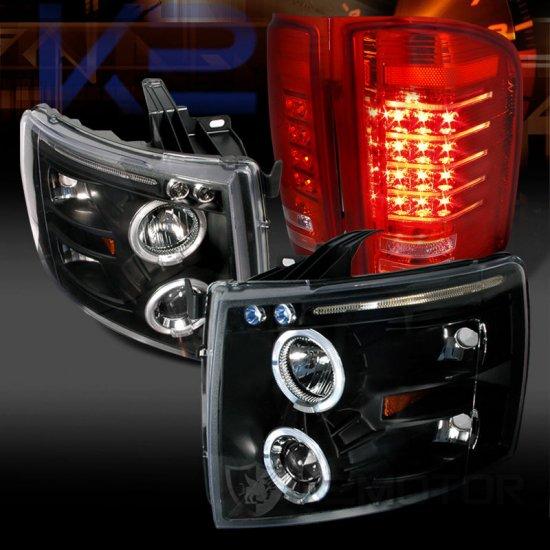 USヘッドライト 07-14 Silverado Blackデュアル・ハロー・プロジェクター・ヘッドライト+レッドLEDテールランプ 07-14 Silverado Black Dual Hal…