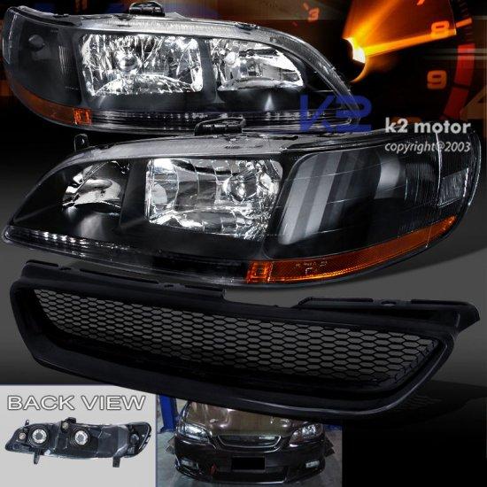 USヘッドライト 98-02用Honda Accord 2Dr JDMブラックヘッドライト+ 用T-RフードグリルABSグリル For 98-02 Honda Accord 2Dr JDM Bl…