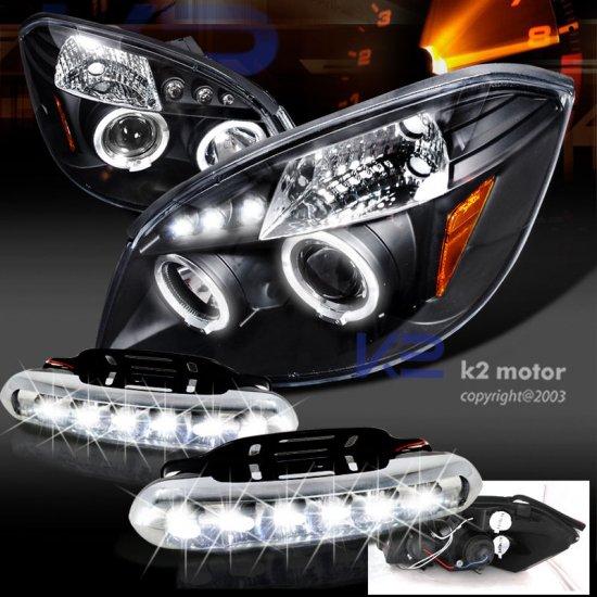 USヘッドライト ポンティアックG5 /追求ブラックハロープロジェクターヘッドライト+ LED駆動フォグランプ Pontaic G5/Pursuit Black Halo Projector H…