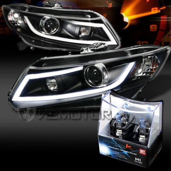 USヘッドライト 12-15のシビックブラックLEDライトバープロジェクターヘッドライト+ H1ハロゲン電球 For 12-15 Civic Black LED Light Bar Projec…