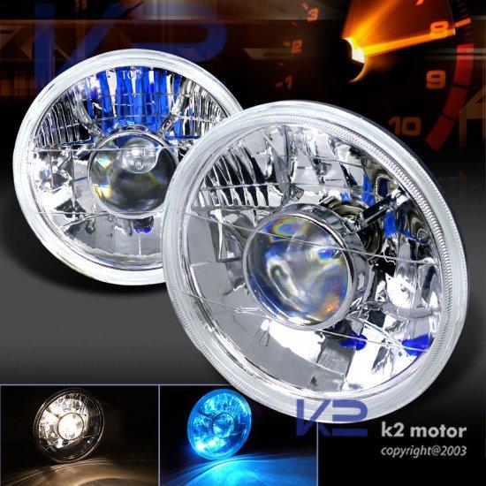 "USヘッドライト 7インチプロジェクタークリアレンズヘッドライトH4電球付きラウンド 7"" Projector Clear Lens Headlights Round w/ H4 Light"