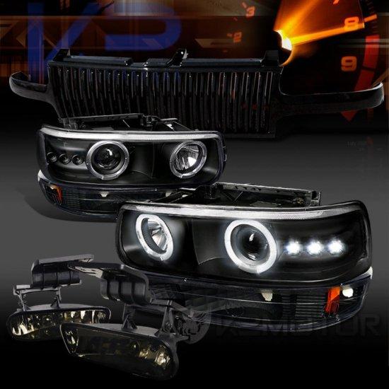 USヘッドライト 00-06タホブラックプロジェクターヘッドライトバンパーランプ+垂直グリル+煙霧ランプ 00-06 Tahoe Black Projector Headlight Bumper…