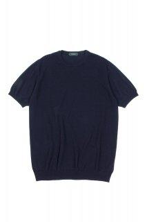 ZANONE (ザノーネ) Knit T-shirt コットンニット Tシャツ NAVY (ネイビー・Z0542)
