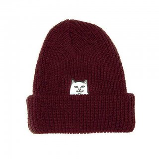 RIPNDIP : LORD NERMAL RIBBED BEANIE (BURGUNDY)