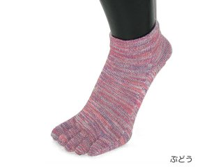 【EMソックス】5本指スニーカーソックス 彩(いろどり) 22-24cm