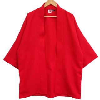[Happi.Tokyo]綾織(あやおり)はっぴ(法被)-無地-赤-Red-